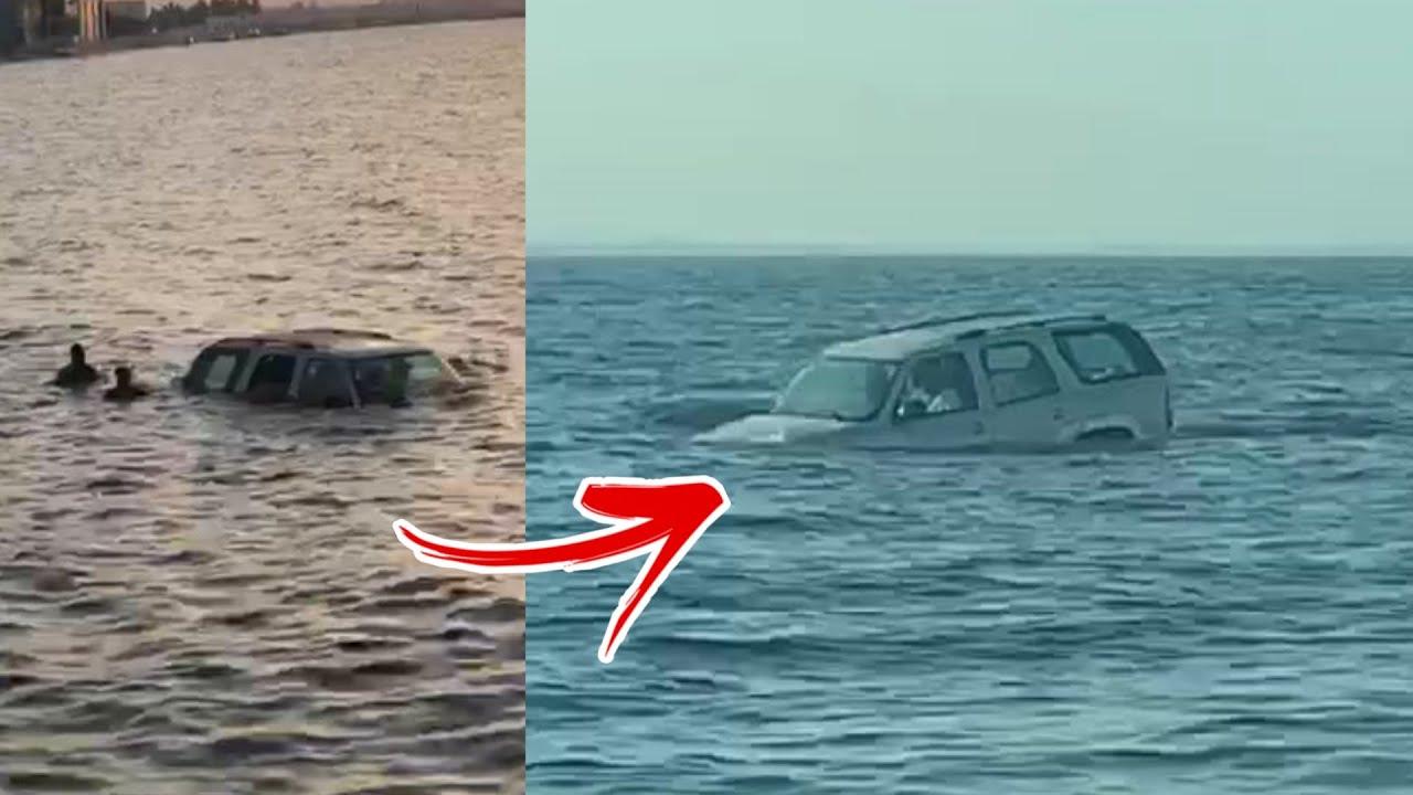 لحظة سقوط سيارة عائلة سعودية في البحر بالدمام