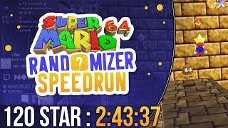 Super Mario 64 Randomizer 120 Star Speedrun in 2:43:37