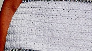 Платье крючком в стиле D&G. 4. Вязание части с горловиной.