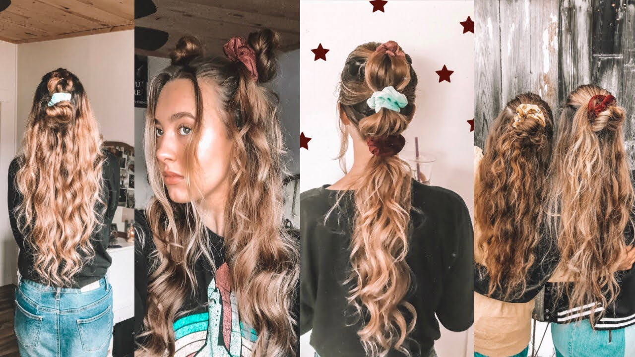 4 hairstyles you can do with a scrunchie💫 - YouTube