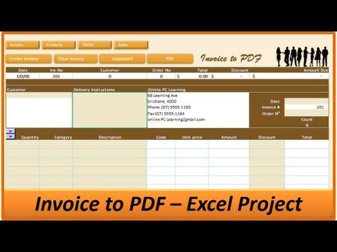 Excel Invoice to PDF - Excel Invoice Creator - Excel VBA Project - invoice generator pdf