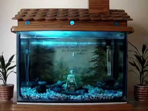Fish tank decoration house fish tank youtube for Fish tank house