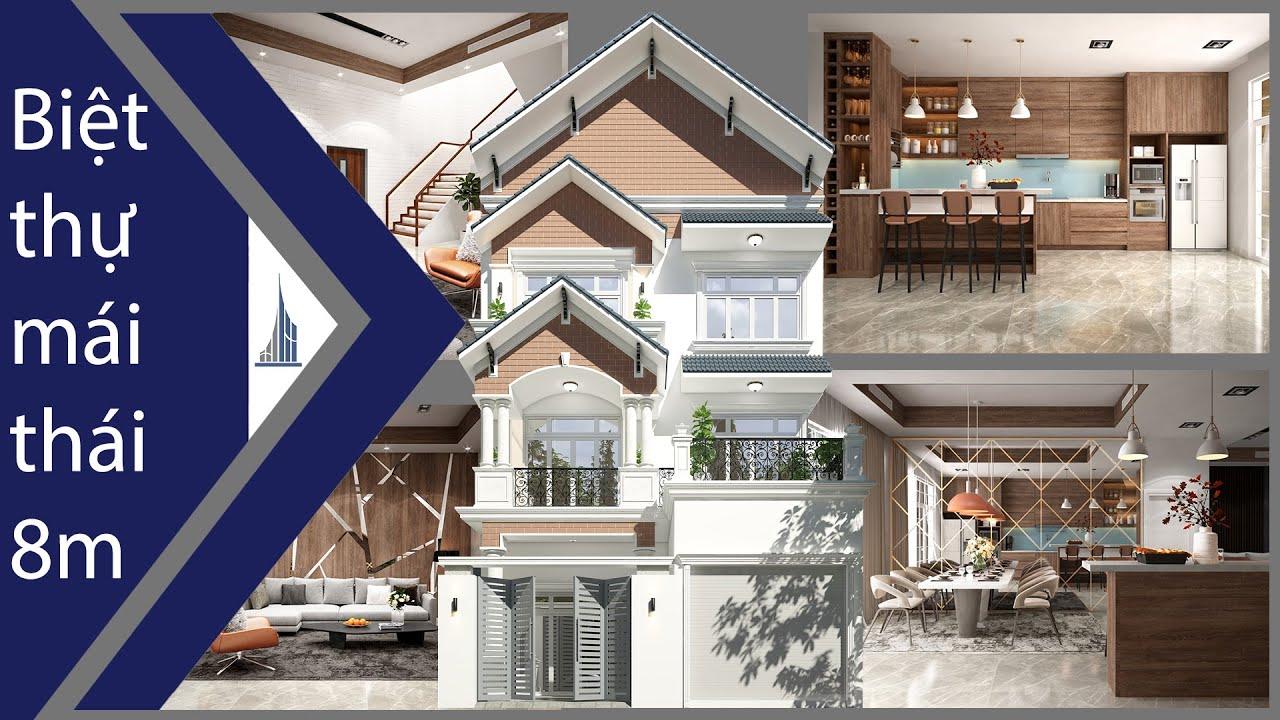 Biệt thự 1 trệt 2 lầu đẹp rộng 8m mái thái anh Bình Long Xuyên l Phan Kiến Phát Corp