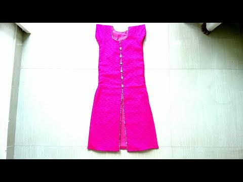 Front slit churidar top cutting and stitching  | Thread piping | Canvas using neck design