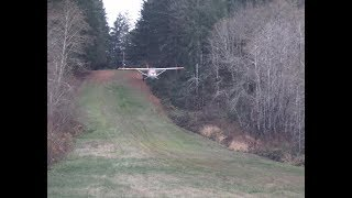 Cessna 182 steep grass strip, Ski jump #2 , narrower, steeper, shorter.