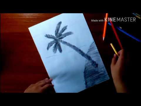 Летний пейзаж \\ пальма на фоне заката 🌴🔹урок рисования