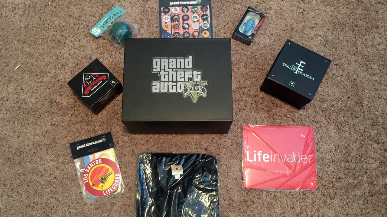 Grand theft auto v gift box from rockstar unboxing youtube for 1 box auto