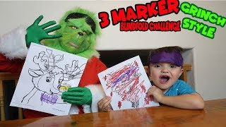 3 MARKER Blindfold challenge with the GRINCH!