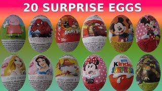 20 SURPRISE EGGS ★ Huevos Sorpresa Kinder ★ PEPPA Frozen Spiderman marvel Star Wars Disney princess