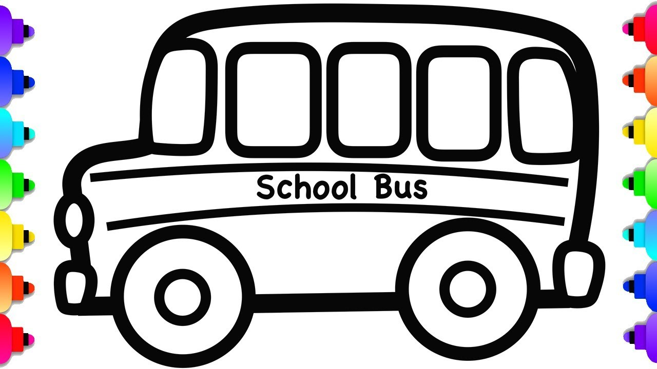 Glitter School Bus Drawing And Coloring School Bus Coloring Page Youtube