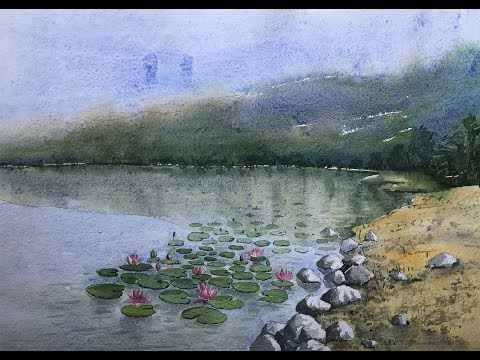 Painting water lilies in pond | watercolor landscape painting