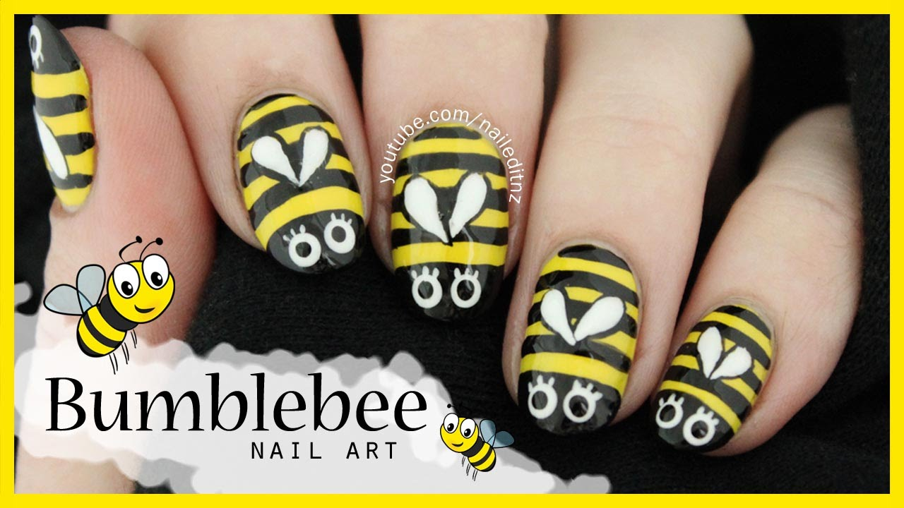 Cute easy bumblebee nail art youtube prinsesfo Image collections