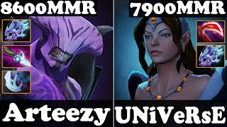 Dota 2 - Arteezy 8600 MMR Faceless Void And UNiVeRsE 7900 MMR Mirana - Ranked Match Gameplay