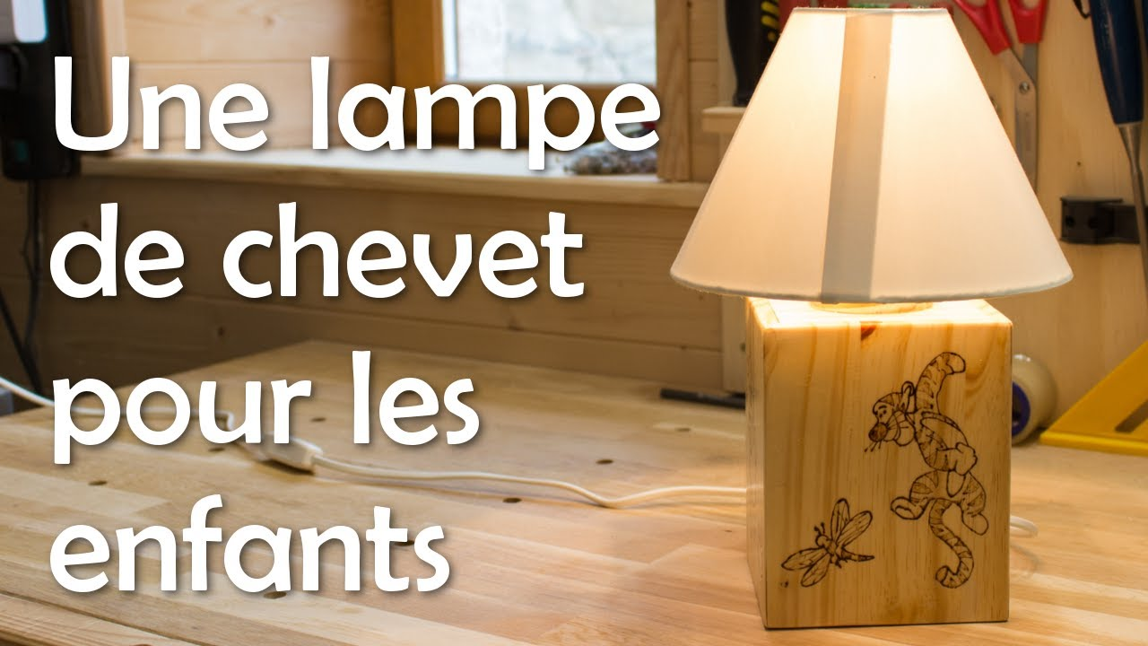 lampe de chevet pour enfants menuiserie travail du bois youtube. Black Bedroom Furniture Sets. Home Design Ideas