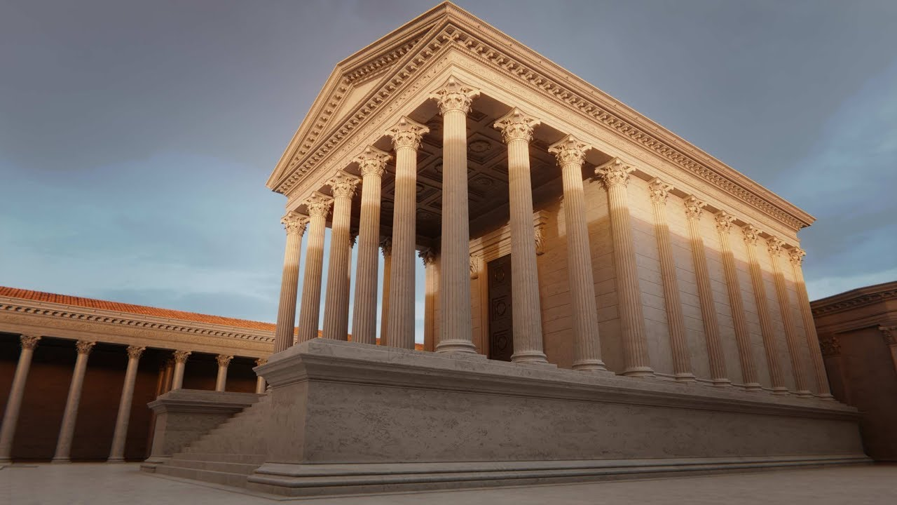 Maison Carree In Nimes France Roman Reconstruction Youtube