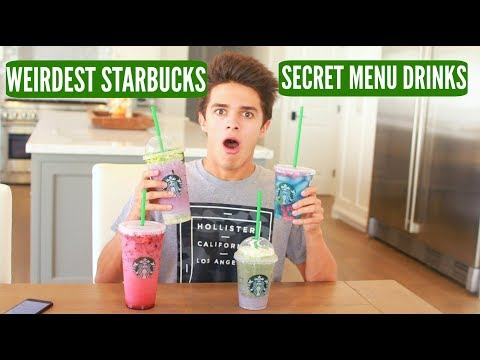 Tasting the WEIRDEST Starbucks' SECRET MENU DRINKS!!   Brent Rivera