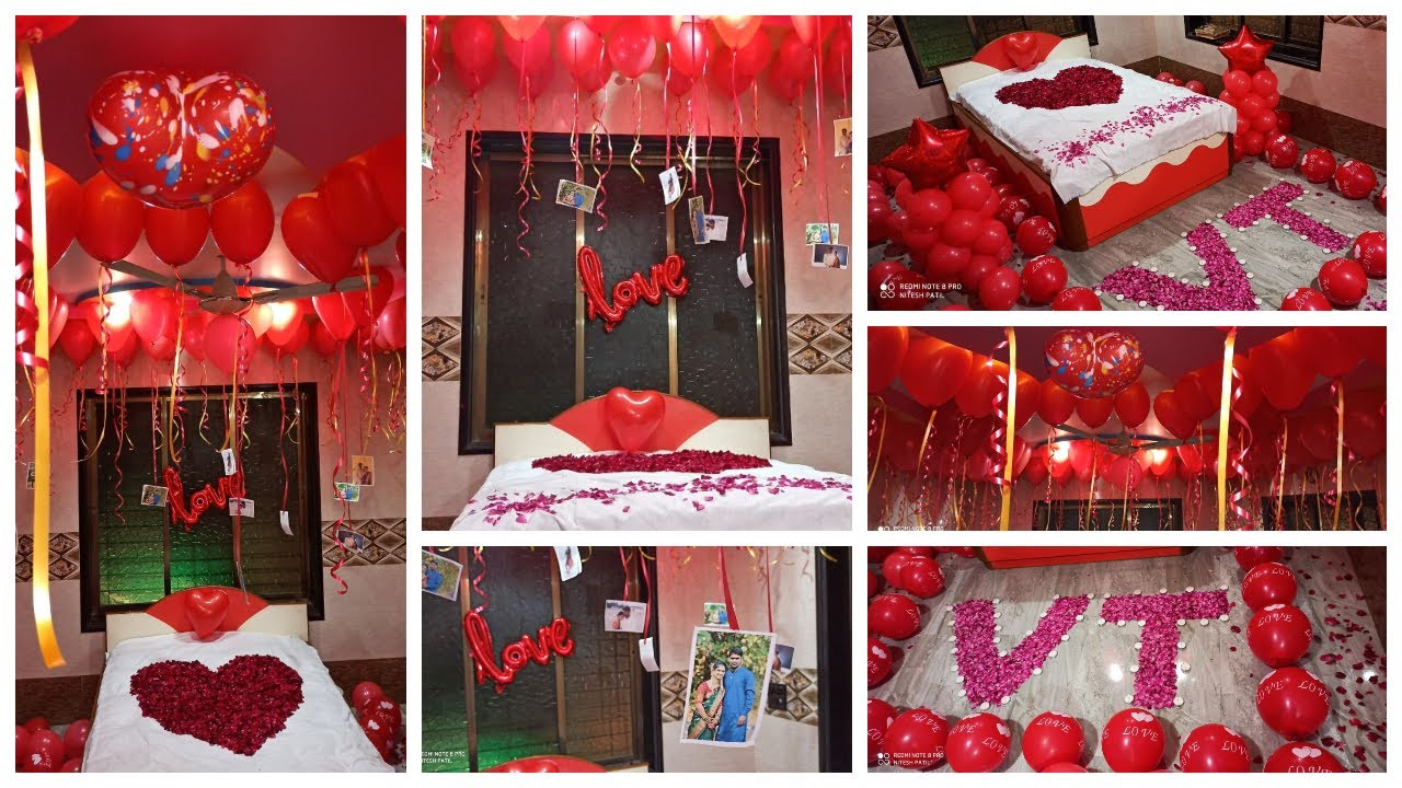 Romantic Wedding Room Decoration Ideas Using Balloons Rose Petals Flowers And Candles Youtube