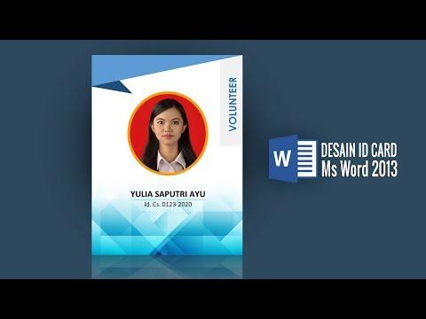 Desain Id Card Blue Di Ms Word Youtube