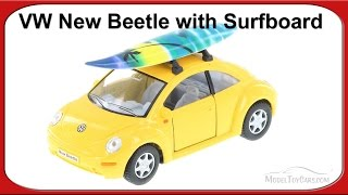 Volkswagen New Beetle w/ surfboard, Yellow - Kinsmart 1/32 Scale