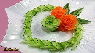 Artistic Cucumber, Carrot Rose Carving & Design – From Vegetable Into Flower Garnish
