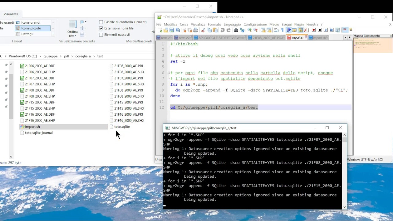 import multi-shp with shell MSYS