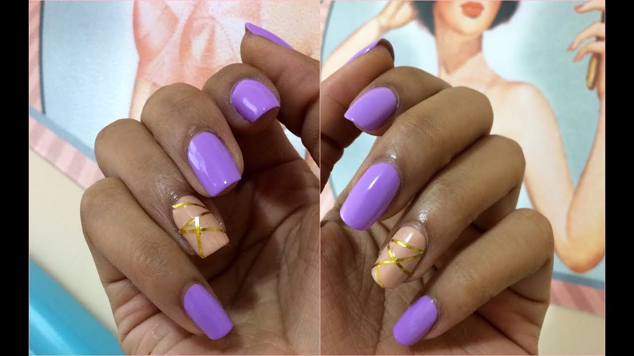 DIY Nail Art: Lavender & Nude Nail Design Tutorial - YouTube