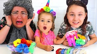 Colored Scrunchies Pick Our Slime Ingredients Challenge w/ Ruby and Bonnie