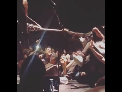 Fans hair almost ripped out by Phil Demmel's guitar during stage dive...