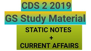 CDS 2 2019-STUDY MATERIAL (STATIC +CURRENT AFFAIRS)