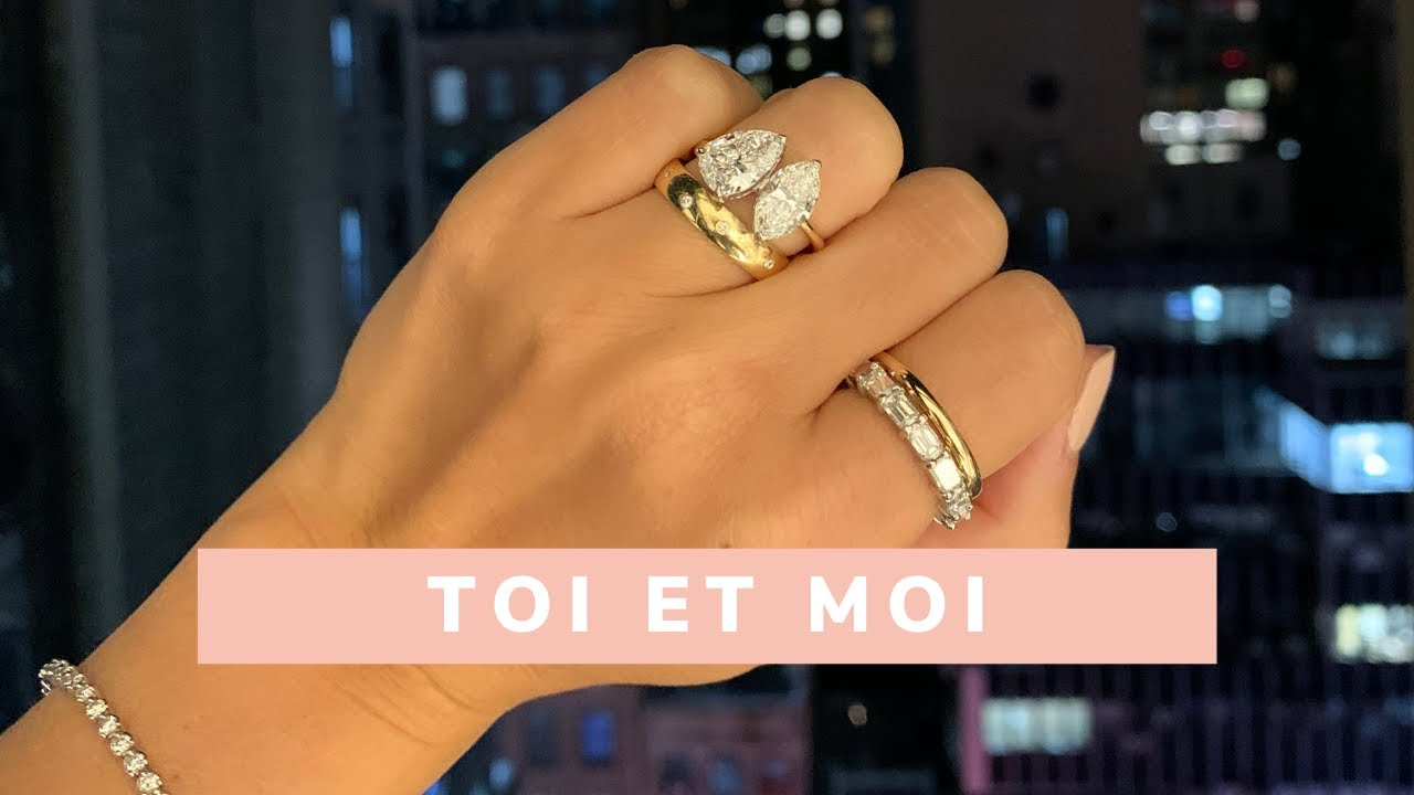 Toi et Moi Oval and Marquise Diamond Halo Ring