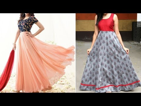 Gown Designs With Yoke   Party Wear Simple Gown Designs From Saree or Plain Fabrics