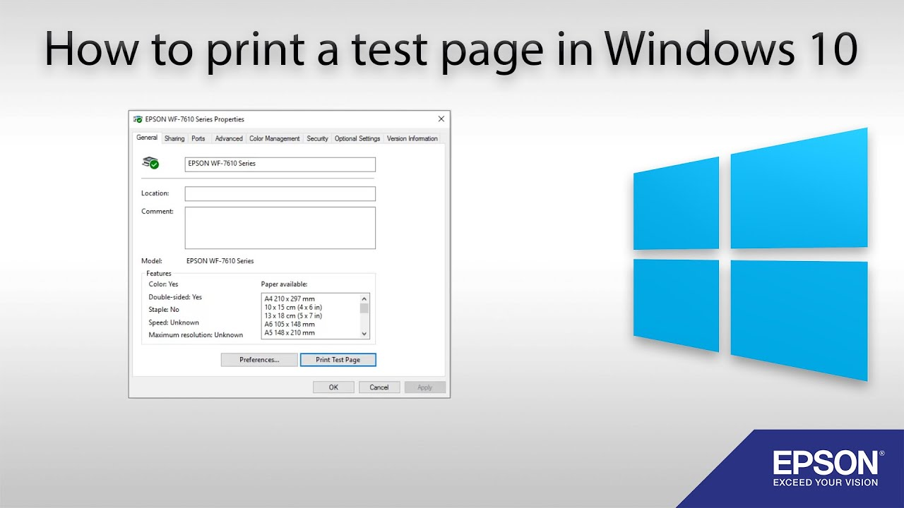 Windows Printer Test Page Color