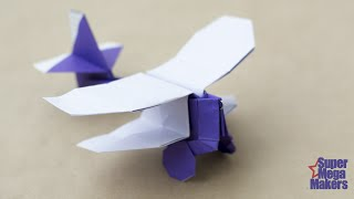 Airplane from paper. Origami Biplane
