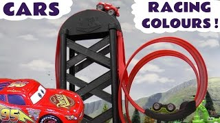 Cars Toys Racing Colours with Thomas and Friends | Explore colors red blue green watching them race