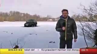 Araba canlı yayında buza düşer