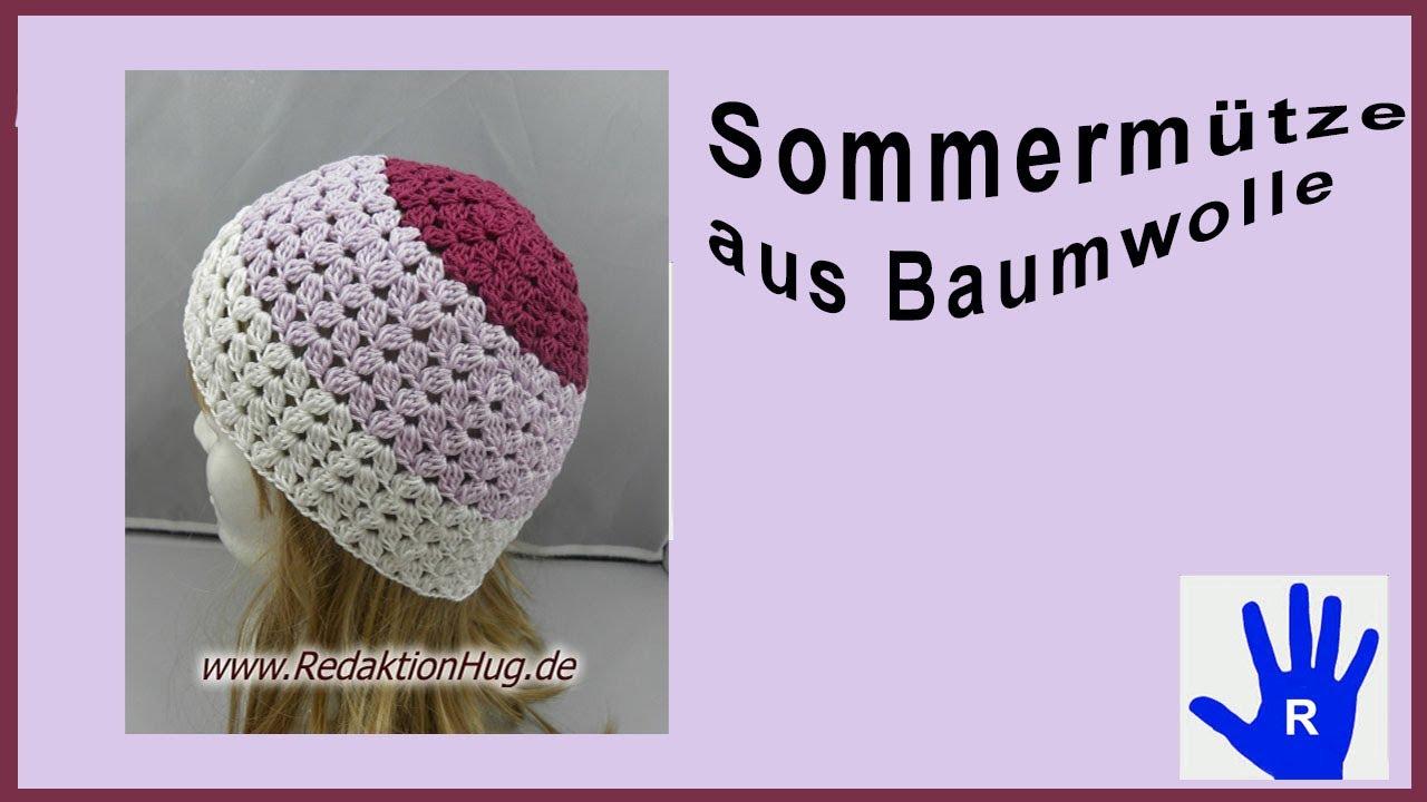 Häkeln Mütze Sommer Baumwolle Von Pro Lana Youtube
