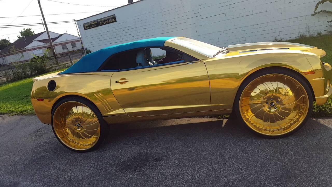 Gold Amp Teal Camaro On Gold 30 Quot Forgiato Giratto S