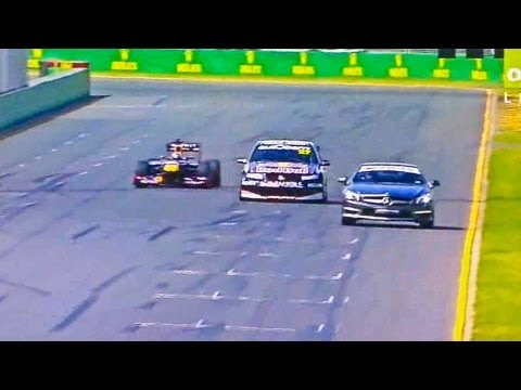 Red Bull F1 vs V8 Supercar vs SL63 AMG (Melbourne, Australia 2013)