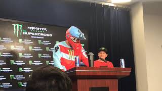 Patriots TE Rob Gronkowski Takes Podium Wearing Racing Helmet
