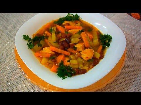 Суп из фасоли/Суп из Фасоли Консервированной/Суп фасолевый с курицей/Простой рецепт супа