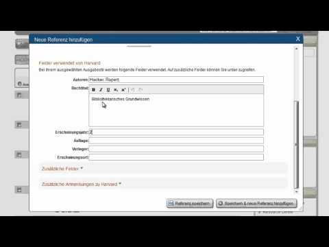 2.8 RefWorks auf Deutsch: Manuelle Eingabe einer Referenz
