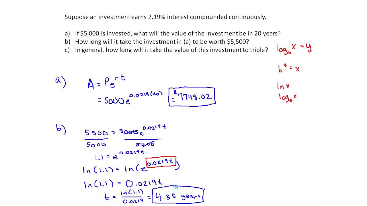 Continuously Compounding Interest Example Mth 145 Section