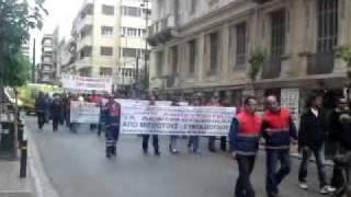 πορεία διασωστών ΕΚΑΒ προς τη βουλή