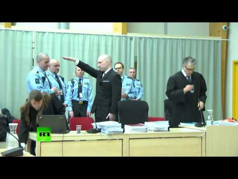Breivik nazi salute: Norwegian mass murderer appears in public for first time since conviction