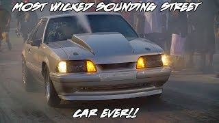 WICKED SOUNDING FULL EXHAUST MUSTANG! MEAN NITROUS STREET CAR ALL THE WAY FROM MARYLAND TO GRUDGE!