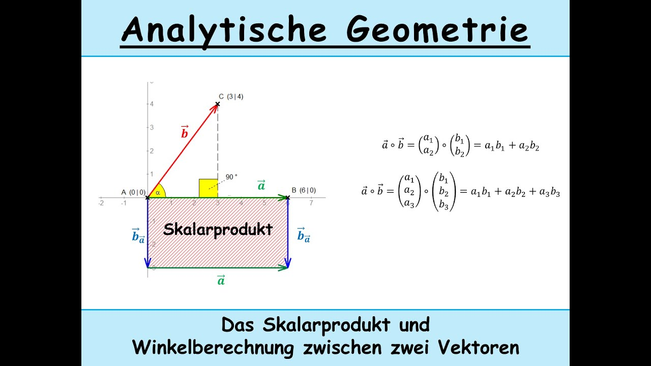 skalarprodukt berechnen erkl rt winkel von zwei vektoren analytische geometrie mathe youtube. Black Bedroom Furniture Sets. Home Design Ideas