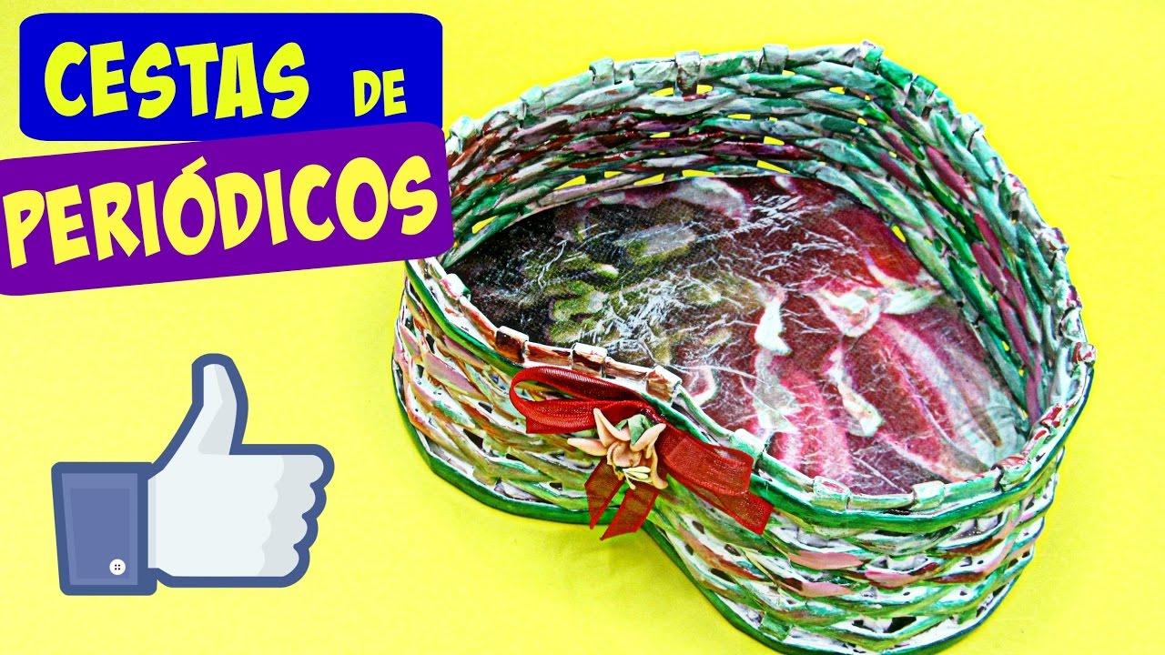 C mo hacer una cesta coraz n san valent n heart basket youtube - Hacer cestas con papel de periodico ...