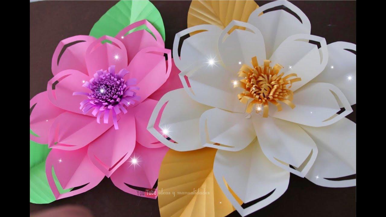 Flores grandes de papel 🌺 | decoraciones para fiestas 💖| Flores gigantes  - YouTube