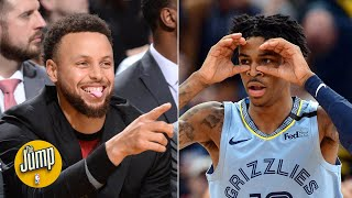 Ja Morant and Steph Curry got into an online battle over Andre Iguodala | The Jump