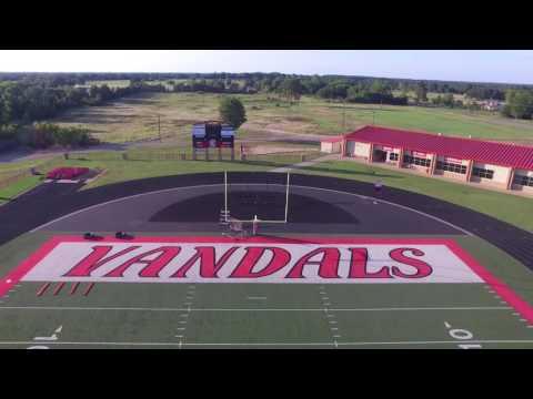 Van vandals football stadium drone